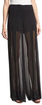 McQ Alexander McQueen Pleated Silk Voile Wide-Leg Pants, Black $530 thestylecure.com