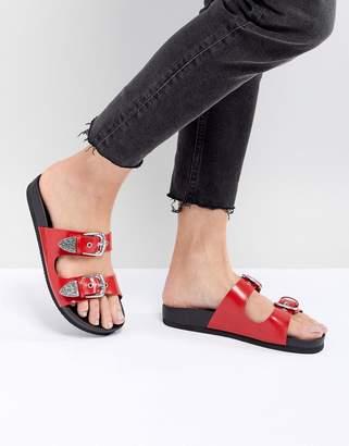 Monki Western Strap Slider Sandal