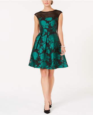 Julia Jordan Mesh & Jacquard A-Line Dress