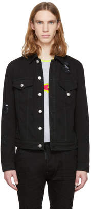 Versus Black Distressed Denim Jacket