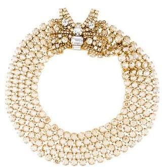 Miu Miu Crystal & Faux Pearl Bow Collar Necklace