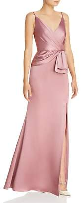 Adrianna Papell Faux-Wrap Satin Gown