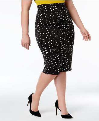 Alfani Plus Size Printed Vented Pencil Skirt, Created for Macy's