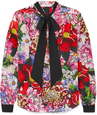 Mary Katrantzou Pussy-bow Floral-print Silk Crepe De Chine Blouse - Pink