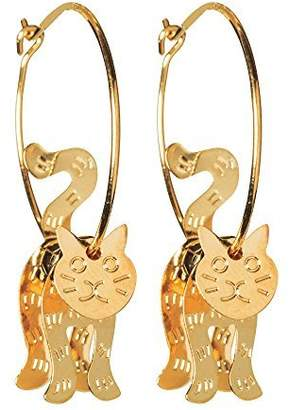 The Paragon Cat Dangle Hoop Earrings - Swinging Dangling Kitty Earrings