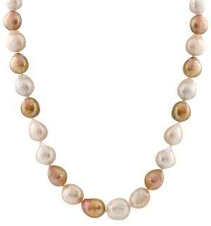 10-13MM Mixed Color Pearl and 14K White Gold Necklace