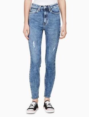 Calvin Klein skinny high rise distressed ankle jeans