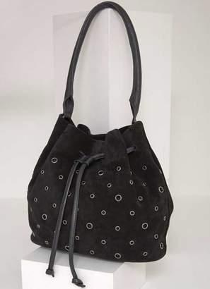 Mint Velvet Zoe Black Eyelet Bucket Bag