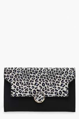 boohoo Colour Pop Leopard Flap Clutch