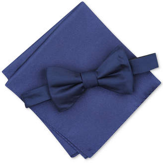 Alfani Men Solid Textured Pre-Tied Bow Tie & Solid Textured Pocket Square Set