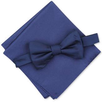 Alfani Men Solid Textured Pre-Tied Bow Tie & Solid Textured Pocket Square Set