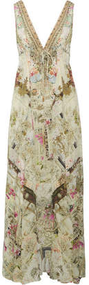 Camilla Chinese Whispers Crystal-embellished Printed Silk Crepe De Chine Maxi Dress - Sand