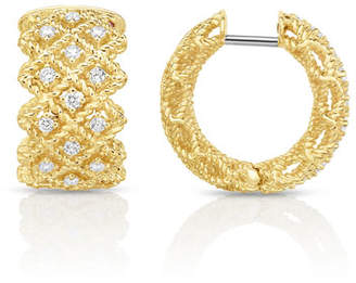 Roberto Coin Barocco Three-Row Huggie Earrings with Diamonds in 18K Gold