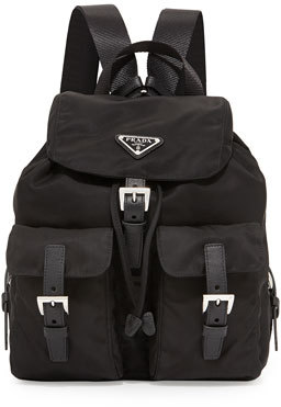 Prada Vela Small Two-Pocket Backpack, Black (Nero) $930 thestylecure.com