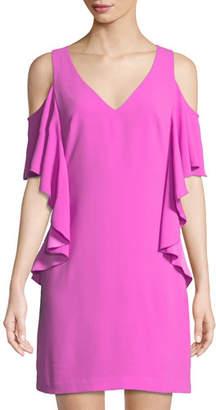 Trina Turk Lambada Carmel Crepe Ruffle Mini Dress