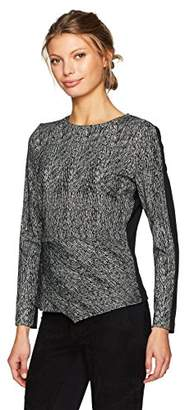 Calvin Klein Women's Long Sleeve Angle Bottom Jacquard Top