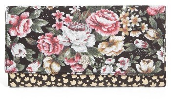 Alexander McQueen Women's Alexander Mcqueen Floral Leather Wallet - Black