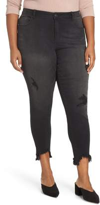 1822 Denim Shark-Bite Hem Distressed Skinny Jeans