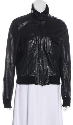 Theory Rib Knit-Trimmed Leather Jacket