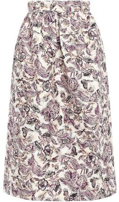 Anna Sui Gathered Floral-jacquard Midi Skirt