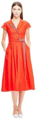 Lela Rose Stretch Cotton Poplin Double Breasted Shirt Dress