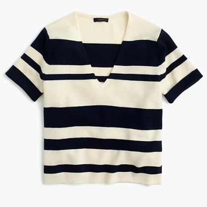 J.CrewWool striped short-sleeve V-neck sweater