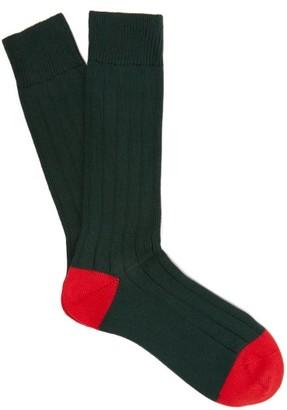 Pantherella Scott Nichol Oxford Ribbed Knit Socks - Mens - Green