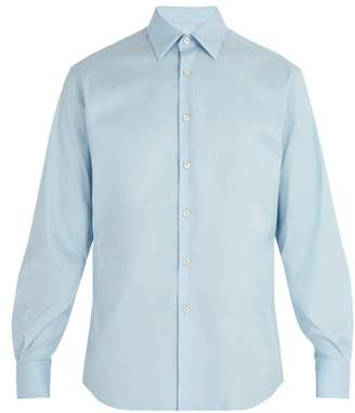Prada Classic Fit Stretch Poplin Shirt - Mens - Light Blue