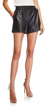 Ramy Brook Henri Studded Lambskin Leather Shorts