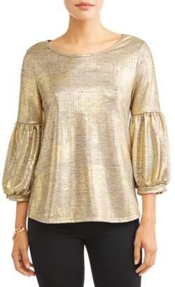 Poof Apparel Women's Balloon Sleeve Gold Shirt
