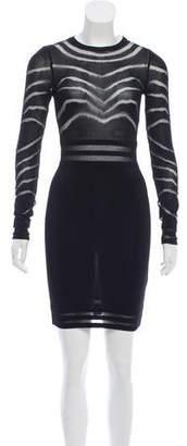 Balmain Mesh-Paneled Knit Dress