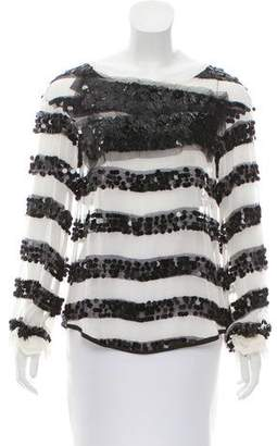 Reed Krakoff Sequin Long Sleeve Top