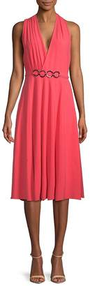 Halston Women's Surplice Knee-Length Dress