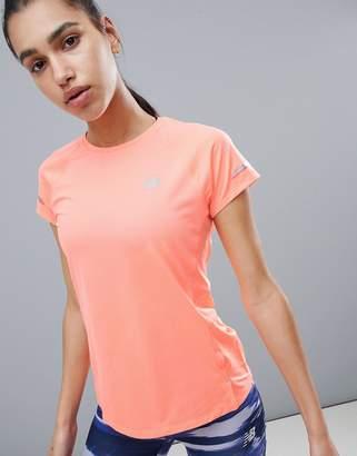New Balance Running Ice Short Sleeve Tee In Peach