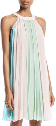 Catherine Malandrino High-Neck Colorblocked Dress