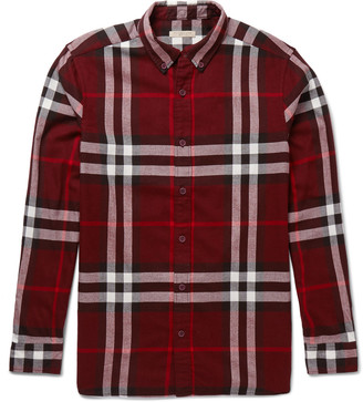 Burberry Brit Button-Down Collar Checked Cotton-Flannel Shirt $350 thestylecure.com