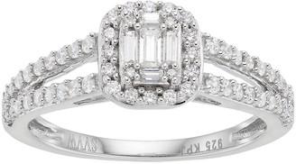 Vera Wang Simply Vera 14k White Gold 1/2 Carat T.W. Diamond Cluster Halo Engagement Ring