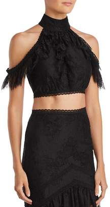 Alice + Olivia Regina Cold-Shoulder Lace Cropped Top