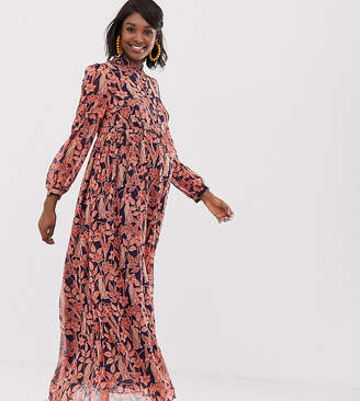 Glamorous Bloom maxi dress with high neck in floral leopard print