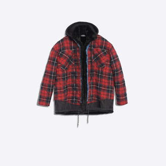 Balenciaga Layered jacket in denim, nylon and flannel