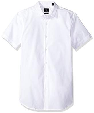 Armani Exchange A|X Men's Short Sleeve Stretch Poplin Woven Slim Fit