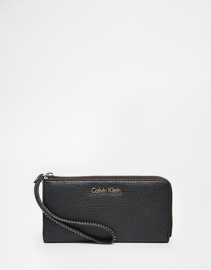 Calvin Klein Calvin Klein Zip Around Purse with Wristlet Studded Strap