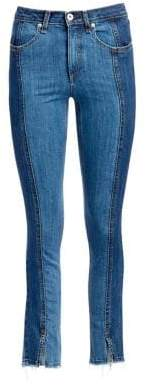 Rag & Bone Evelyn Two-Tone Frayed Hem Ankle Jeans