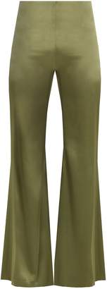 GALVAN High-rise flared satin trousers