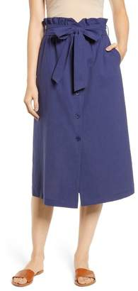 ALL IN FAVOR Button Front Midi Skirt