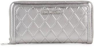 Love Moschino Metallic Quilted Zip-Around Wallet