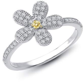 Lafonn 18K Gold Plated & Platinum Plated Sterling Silver Round Cut Simulated Diamond Flower Shape Ring