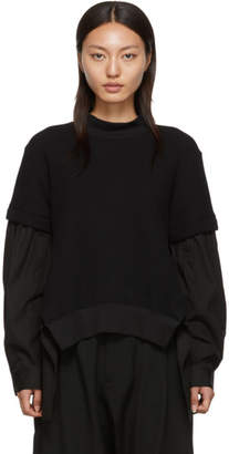 Yohji Yamamoto Regulation Black Shirt Detail Sweater