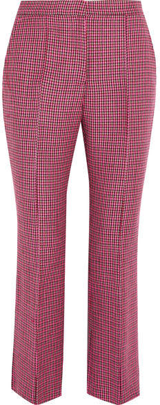 MSGM - Cropped Houndstooth Wool Flared Pants - Pink