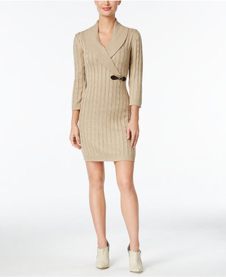 Calvin Klein Buckled Cable-Knit Sweater Dress $134 thestylecure.com